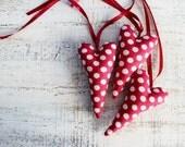 Polka dot heart ornament raspberry red white home decor kitchen rustic shabby chic Valentines day decor, Valentine gift