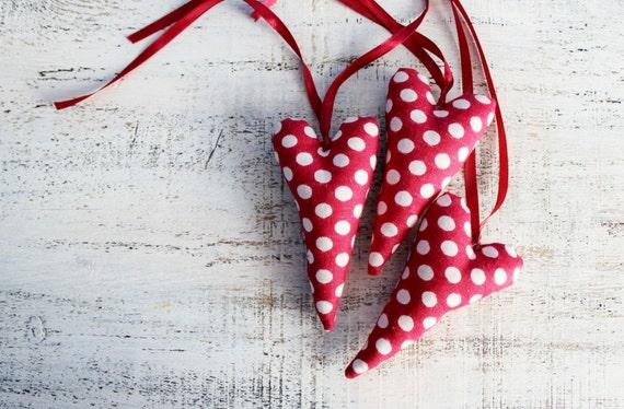 1 polka dot heart Christmas ornament raspberry red white home decor kitchen Christmas decor rustic shabby chic