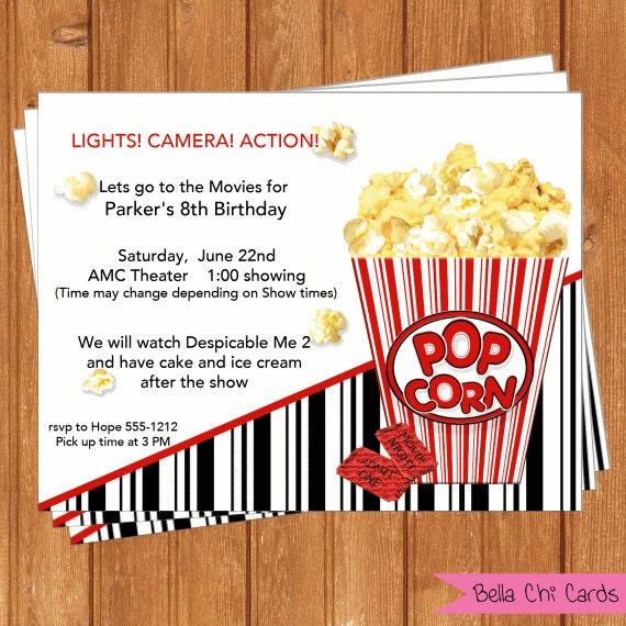 Movies Invitation | Kids Birthday | Printable Editable Digital PDF ...