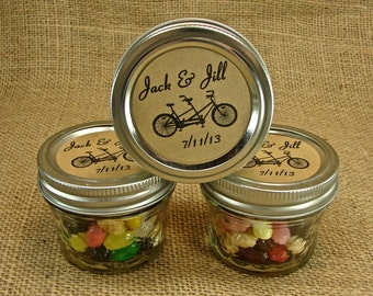 Mason Jar Wedding Favors - Personalized -20 Four Ounce Quilted Mason Jars - Tandem Bike Design