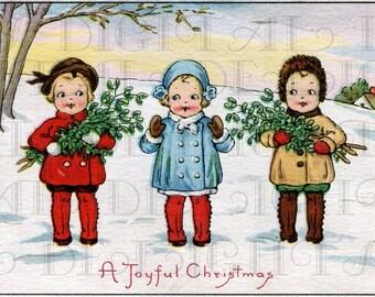 3 Little Joyful CHRISTMAS Children. Digital VINTAGE Illustration. Digital Christmas Download. Digital Vintage Christmas Print.