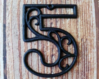 house number five cast iron wall hangers decorative victorian decor 45 inches table numbers - Decorative House Numbers