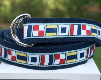 Flag Belt / Signal Flags / Sailing Belt / Mens Belt / Preppy Belt