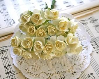 24 Handmade Paper Roses, Flowers, Ivory