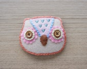 Felt owl Brooch - Cute Kawaii brooch - Owl brooch - Felt accessories - Embroidery Brooch - READY TO SHIP