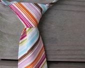 Boys Striped Neck Tie- Toddler Tie- Summer Neck Tie- Cake Smash Tie- Comfy Adjustable Velcro Strap- pink, orange, aqua, white, green, purple