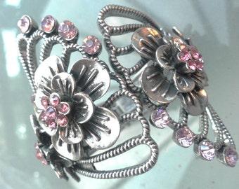 SALE  large metal worked handcrafted hinged diamante bracelet