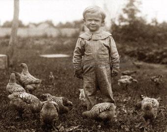 Chicken Boy Fabric - Boy with Chickens in Barnyard - Repro Photo Fabric Block
