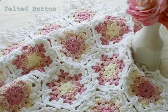 Vintage Crochet Patterns Baby Blankets : Crochet Pattern Baby Blanket Vintage Fleur Shabby Chic