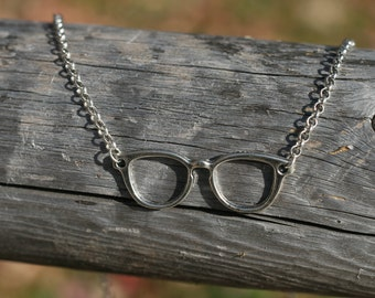 hipster glasses necklace