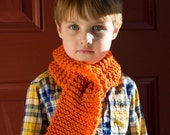 Fall Children's Scarf.  Pumpkin Scarf. Hand Knitted.