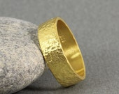 7 mm Handmade Hammered 24K Yellow Gold Over 925K Sterling Silver Flat Pipe Cut Vermeil Wedding Band Ring - FREE Shipping, Sizing & Engraving
