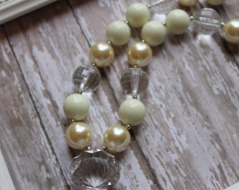 Chunky Beaded Necklace - Baby Ivory Chunky Necklace - For Toddler, Girl or Photo Prop