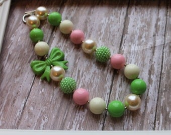 Easter Spring Pink, Greens Chunky Beaded Necklace, Children's Necklace, Baby Necklace, Beaded Gumball Necklace, Girls, Photo Prop, Birthday