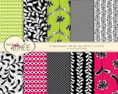 """Digital Scrapbook Paper, Black, White, Lime and Fuchsia Flower, Leaf, & Geometric Printable Paper 8.5""""x11"""" or 12""""x12"""" - Group 54"""