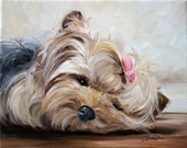PRINT Yorkie Yorkshire Terrier Dog Puppy Art Oil Painting Home Decor Gift Ideas / Mary Sparrow