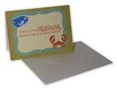 Handmade fun beachside crab themed gift card in green, blue and orange
