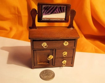 Dollhouse Dresser - Doll House Dresser w Mirror - Vintage Dollhouse Furniture - 1/12th Scale