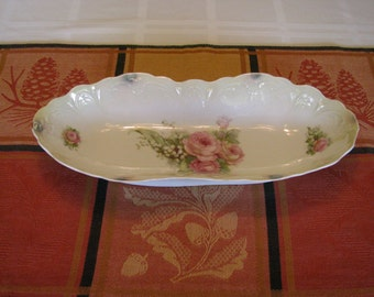 Victorian German China Celery Dish by Greiner and Herda