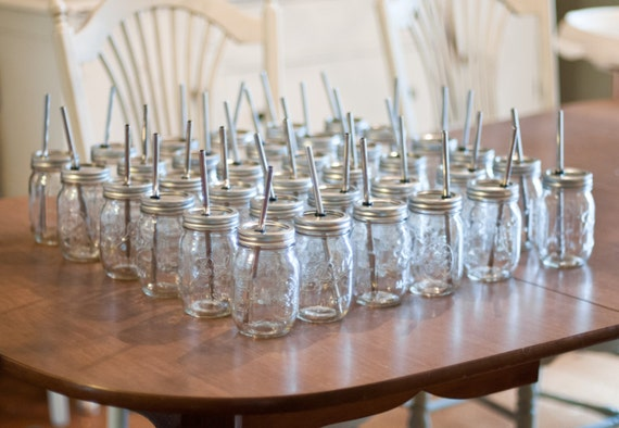 3 READY TO SHIP Mason Jar To Go Cup With Stainless Steel Straw 16oz Eco Friendly