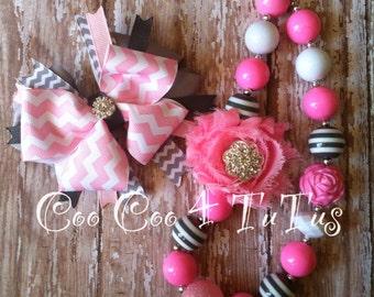 Pink and gray chevron set