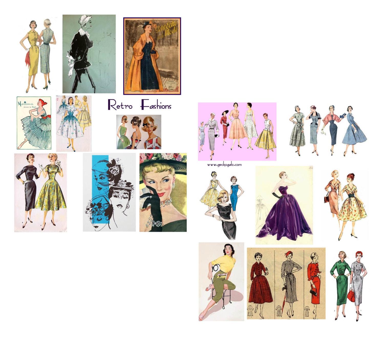 retro fashion collage