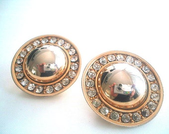 Large Goldtone & Rhinestone Earrings Clip On 1980s
