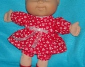 "Cabbage Patch Doll clothes Newborn - Lil Sisters 10"" - 11"" Hearts and Bows  VALENTINE  Dress, Panties and Socks"