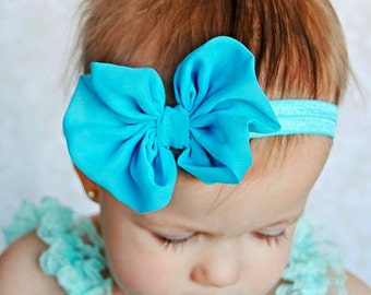 Turquoise Chiffon hair bow Headband Shabby Chic vintage fabric know bow baby headband