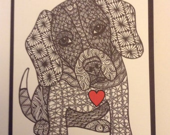 Zentangle Inspired Beagle dog  Note Card, Beagle Dog Print,  Love Card