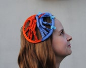 beatrix / orange and blue headpiece - fascinator / orange hair net / blue snood / textile hair accessory