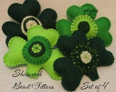 SHAMROCK BOWL FILLERS Set of 4 Large Green Felt St Paddy's Day Party Celebration