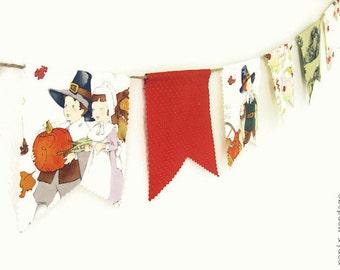 Thanksgiving Bunting Banner,Thanksgiving Banner, Pilgrim Bunting,Pilgrim Banner,Thanksgiving Decorations,Thanksgiving Photo Prop,Fall Banner