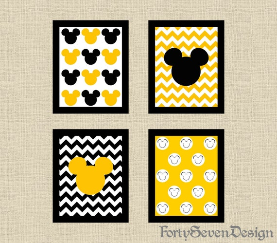 Set of 4 Mickey Mouse Black, White & Yellow Chevron Printable Wall ...