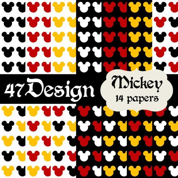 Mickey Mouse Digital Scrapbook Paper 14 12x12 300dpi Jpeg