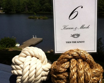 Nautical Wedding Decor- 20-25 Rope Table Number Holders - Beach Wedding Idea