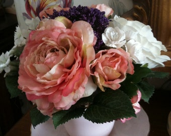 Artificial Flower arrangement Pink Cream Rose Vintage Teacup