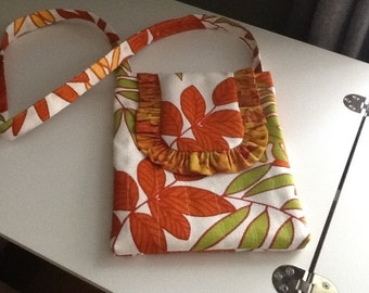Cute iPad Carrier or Daytime Quilted Purse with long strap, Velcro closure