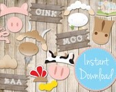 INSTANT DOWNLOAD - BARNYARD Photo booth Props - Printable - Farm Animals, Barn Props
