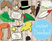 INSTANT DOWNLOAD - Peter Pan Photobooth Props - Printable - Tinkerbell, Tigerlily, Mermaid