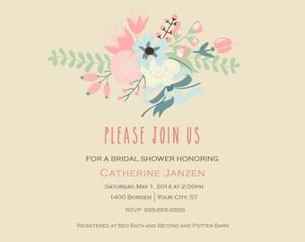 Chalkboard Floral Shower Invitation