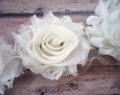 Ivory Cream ** Shabby Flowers Chiffon Rosettes Shabby Flower trim- *Your choice of 1/2 yard or 1 Yard