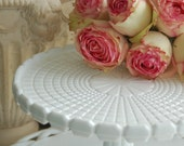 Antique Milk Glass Cake Stand, EAPG, Challinor and Taylor in Waffle Block, 1890s