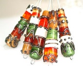 Pearly Karpel Lampwork Silver Stones Cylinder Beads (1) SRA Made To Order Handmade