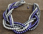 Purple Pearl Statement Necklace, Multi Strand Wedding Necklace, Chunky Braided Necklace on Silver Chain Bridal Necklace