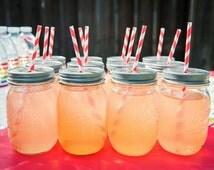 50 Pewter Daisy Cut Mason Jar Lids for Straws