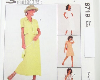 Pick Your Size - McCalls Dress Pattern 8719 - Misses' Unlined Jacket and Dress in Two Lengths - McCall's Patterns