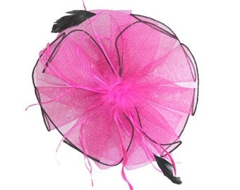 Pink Fuschia Headband Fascinator accented with feathers