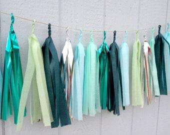 AQUA FOREST - Tissue Paper Tassel Garland  - Party - Wedding - Baby Shower - Nursery