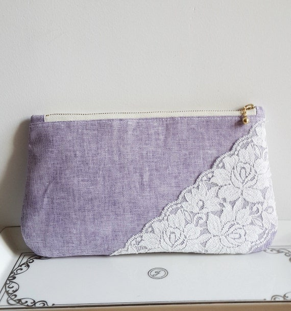 Purple Linen Lace Bridal Clutch Handmade Bridesmaids clutch Women Purse Weddings Dinner Clutch Party Clutch